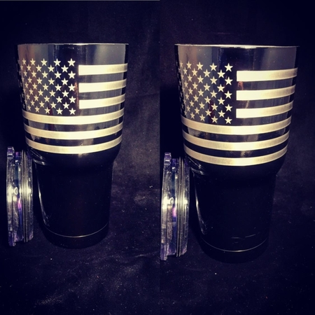 Everyone loves USA Flag. 30oz Gloss Black Tumbler with the 2 flags 365 degrees around the top. Custom Engraved and Powder Coated with any image you want.