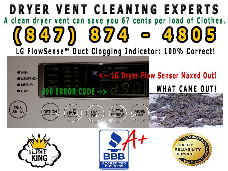 LG FlowSense™ Duct Clogging Indicator: 100% Correct! The Lint King Dryer Vent Cleaning Experts.