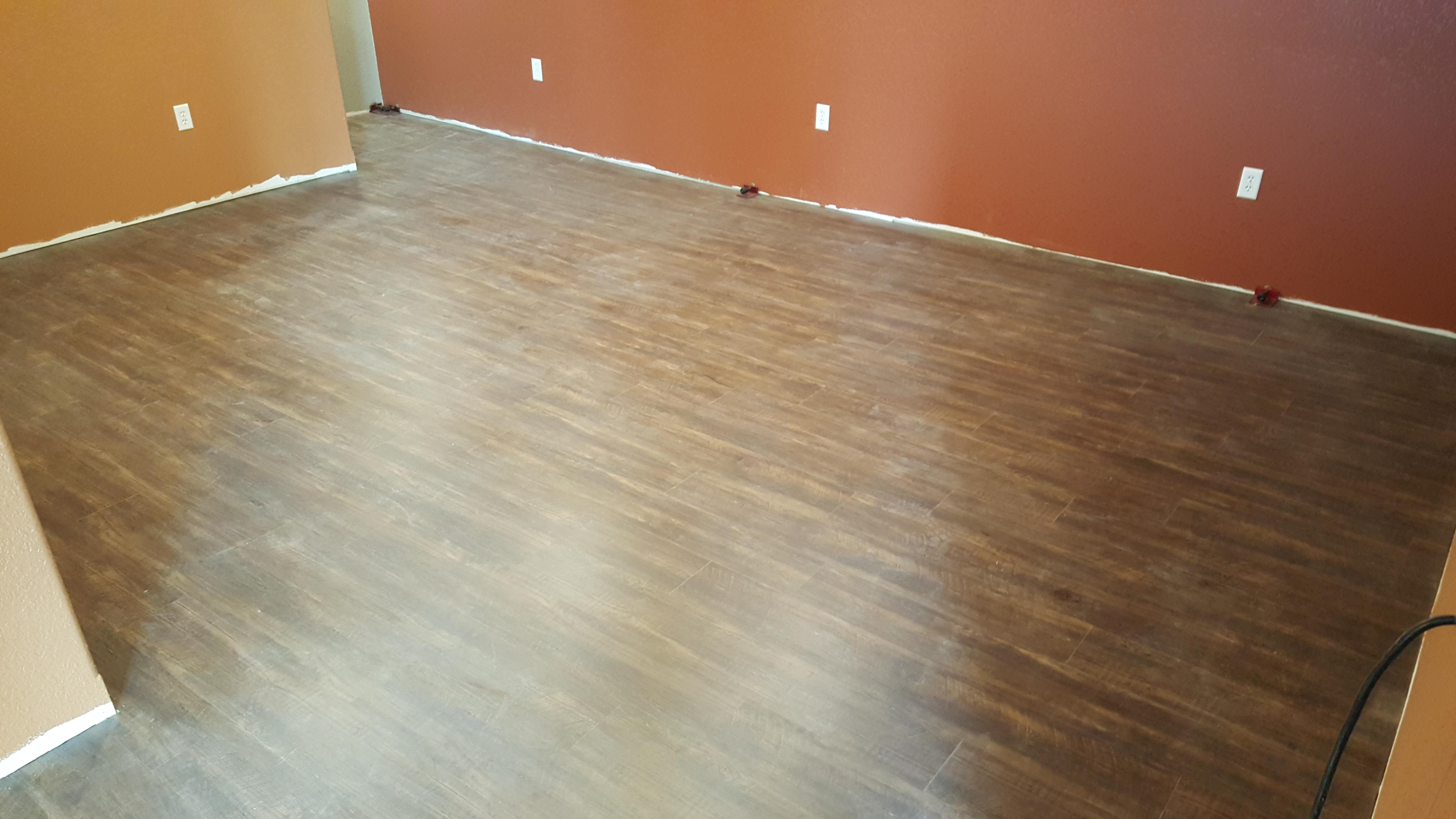 Laminate tile flooring installation