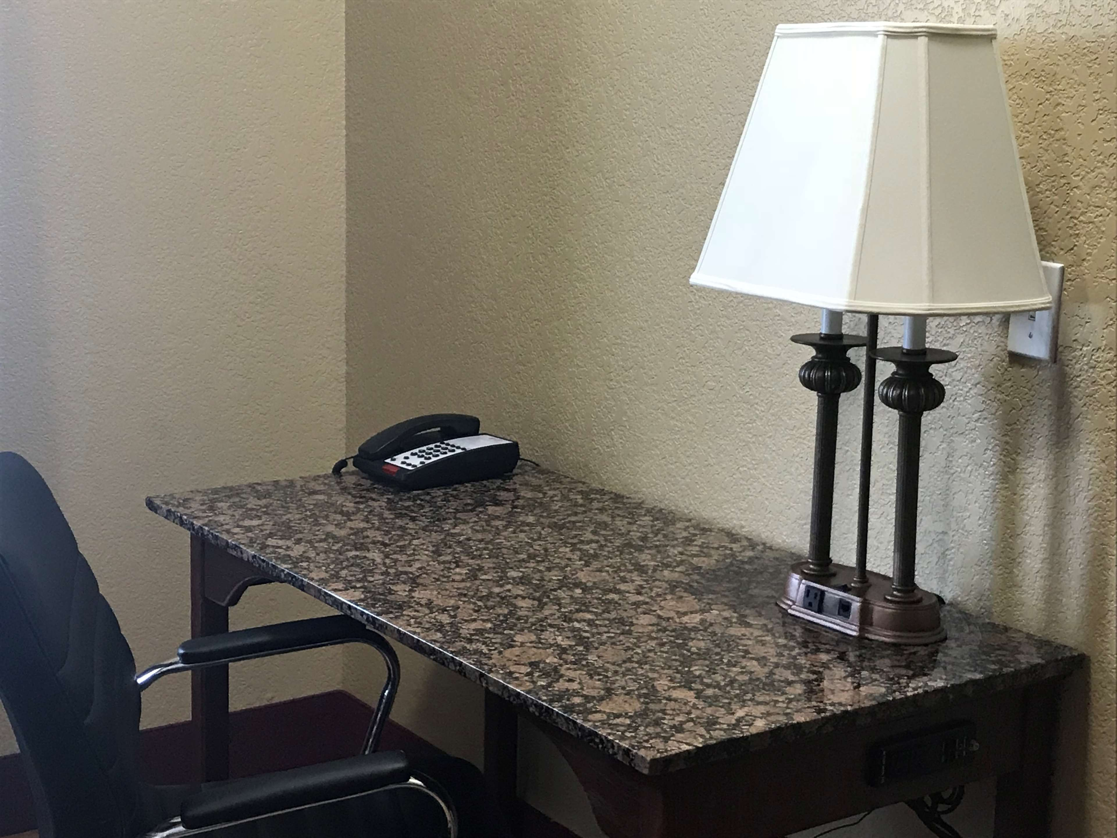 Work Desk with easy outlets.