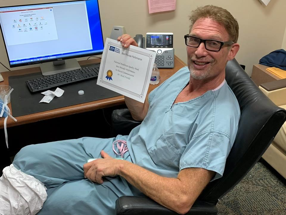 Tampa General Hospital has presented Dr. Mark Frankle, who specializes in shoulder and elbow surgery, with the Best Provider Performance in Doctor Communication award during National Healthcare Quality Week