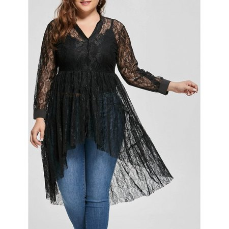 See Through Lace High Low Plus Size Top #1006. $20.50, XL, 2X, 3X
