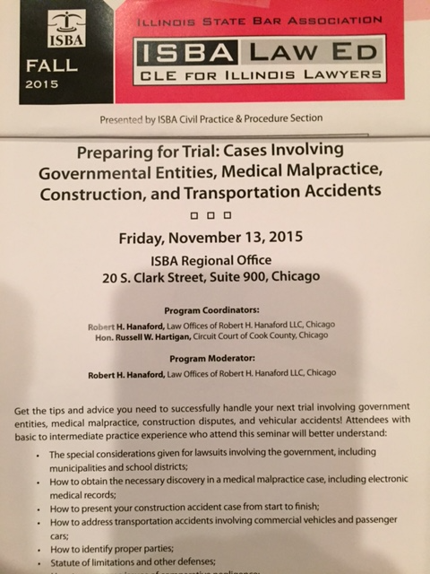 Robert spoke before the Illinois State Bar Association on November 13, 2015 on issues involving police and municipal liability for excessive use of force, injuries arising from vehicle collisions and
