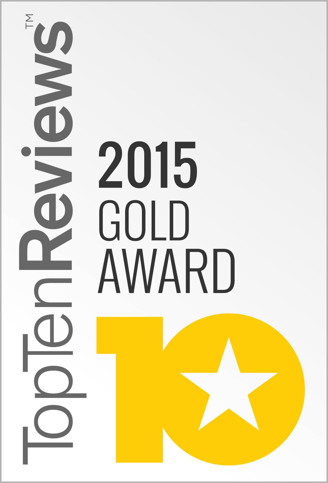 Top Ten Reviews 2015 Gold Award