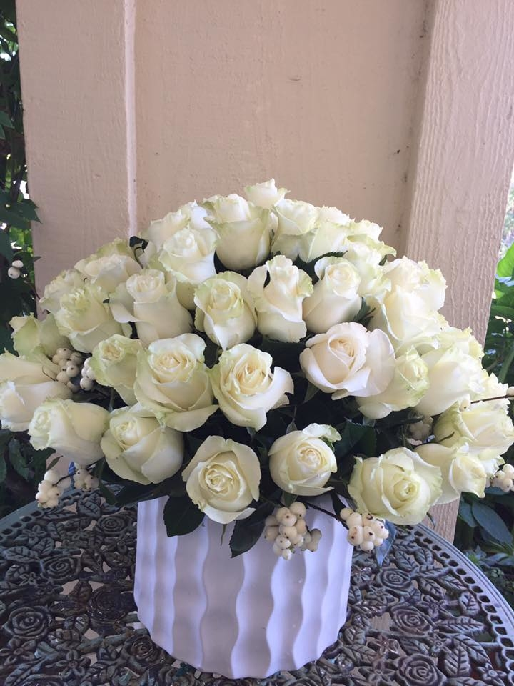 Florentyna's A Fine Flower Company- White Roses Arrangement