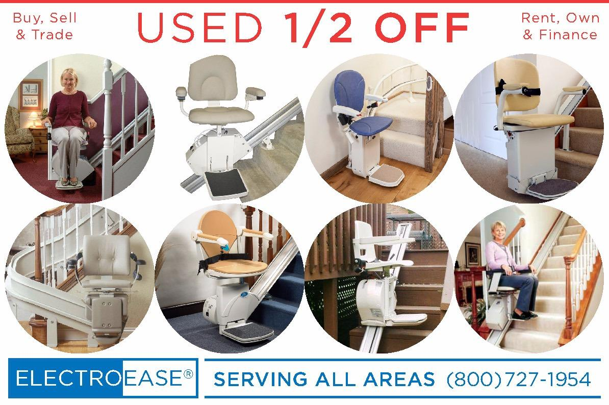 USED STAIRLIFTS 1/2 OFF REGULAR PRICE:  Acorn 130, Elan SRE3000, Elite SRE2010  Many custom curved Acorn 180 and Bruno CRE2110 used recycled seconds slightly used cariages 1/2 off regular price