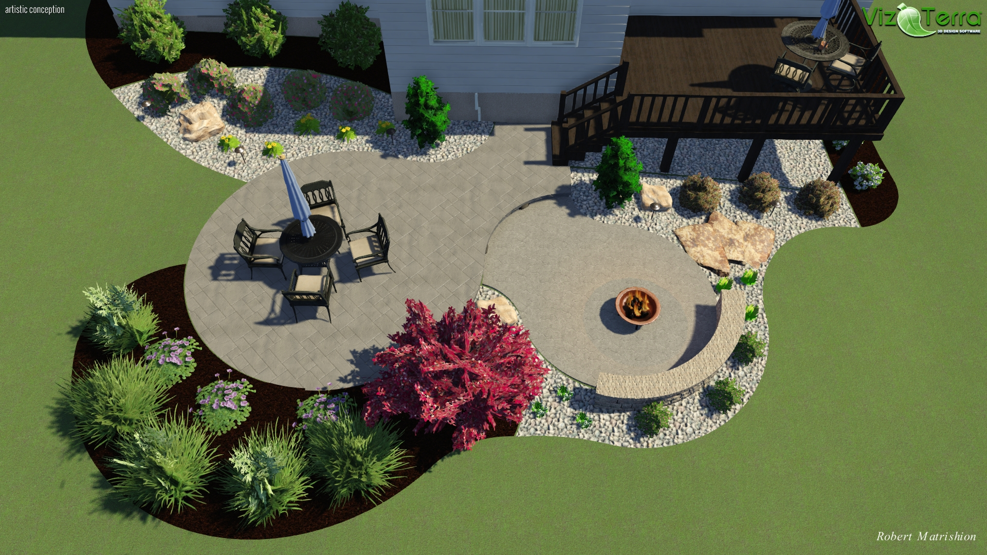 Landscape Design Of A Two Tier Decorative Stamped Concrete Patio With Landscaping