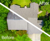 This is an aerial view of a shingle roofing project in Bloomington IN.