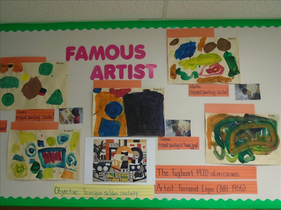 Children in our Pre-K classroom study a new famous artist every two weeks.  Part of their study process is re-creating the work of the artist in their own paintings.