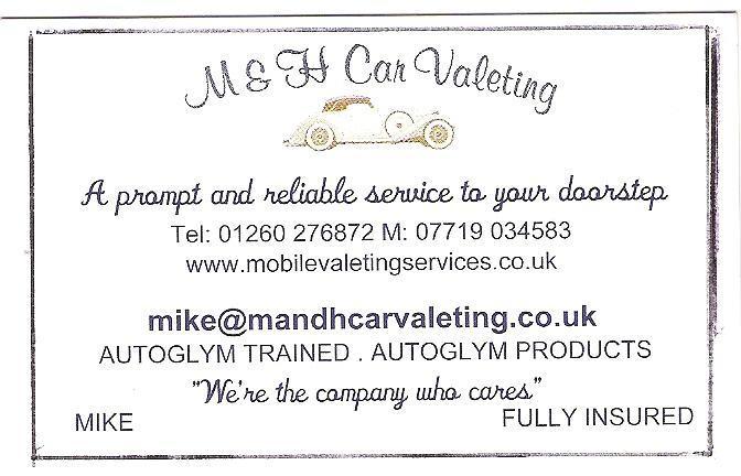 M Amp H Car Valeting Valeting Services In Congleton Cw12
