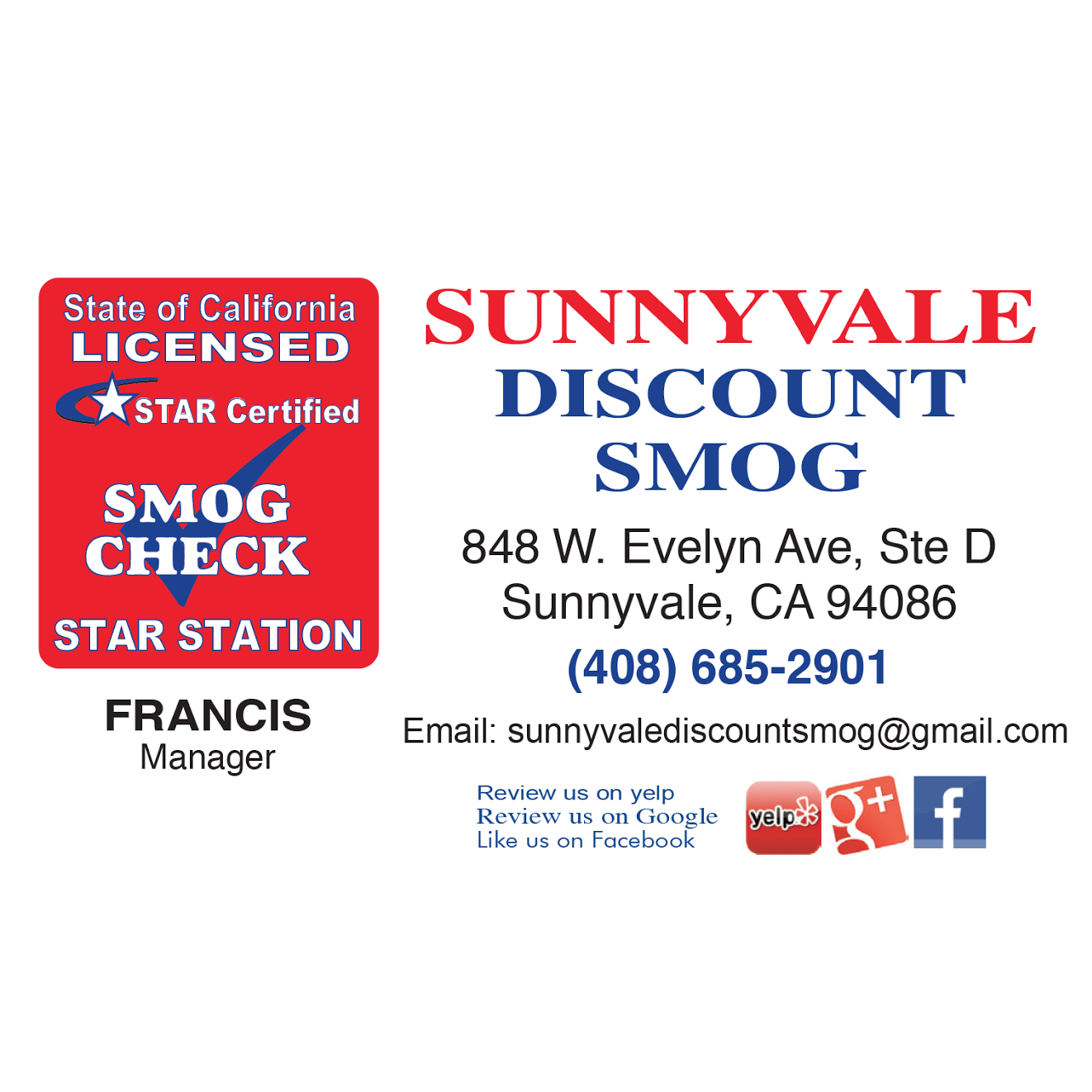 Sunnyvale Discount Smog - Star Certified Station