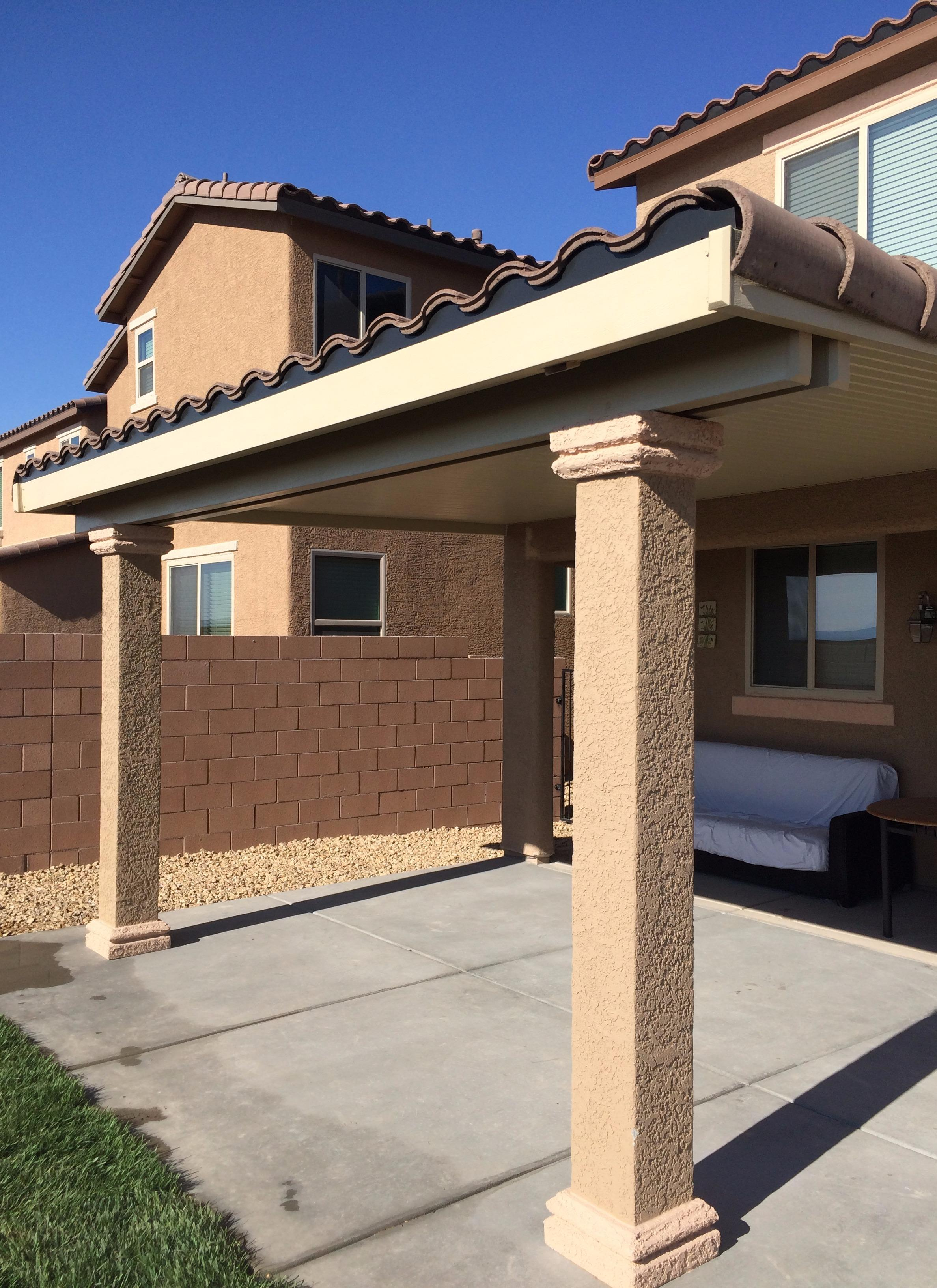 Ultra Patios Solid Alumawood Patio Cover W/ Stucco Post U0026 Cap Tile Trim Las  Vegas