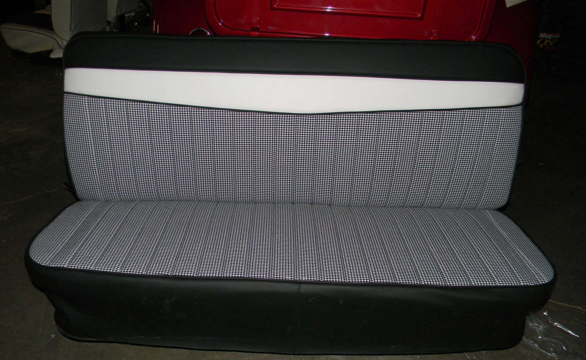 Chevy truck seat cover custom full roll pleat with v bar
