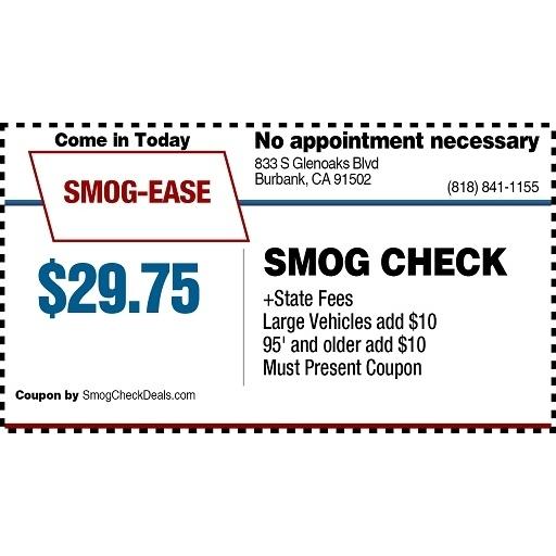 Smog Inspection Station in CA Burbank 91502 Smog Ease Test Only Station 833 South Glenoaks Blvd.  (818)841-1155
