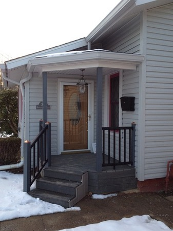 New porch and siding on a home in Pennsylvania.