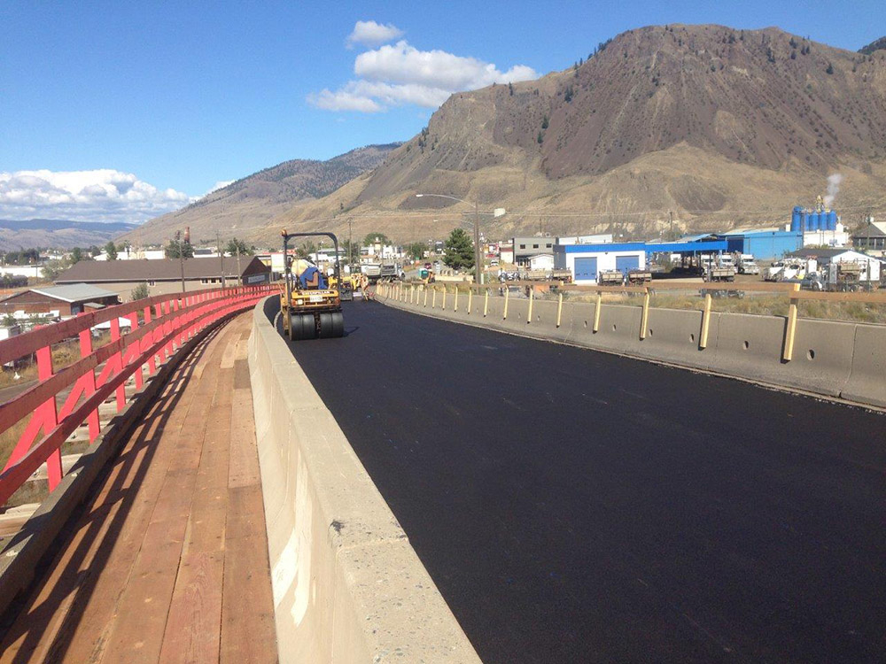 Dawson Construction Ltd in Kamloops: MoTI Asphalt Surfacing, Kamloops Area Paving on TCH 1, Westsyde Road, Hwy 5A and Lac Le Jeune Road (90.58 Lane KM) – with addition of the Red Bridge