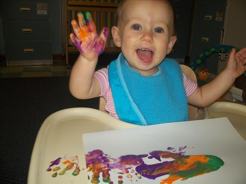 Our babies love to explore textures and especially love finger painting!