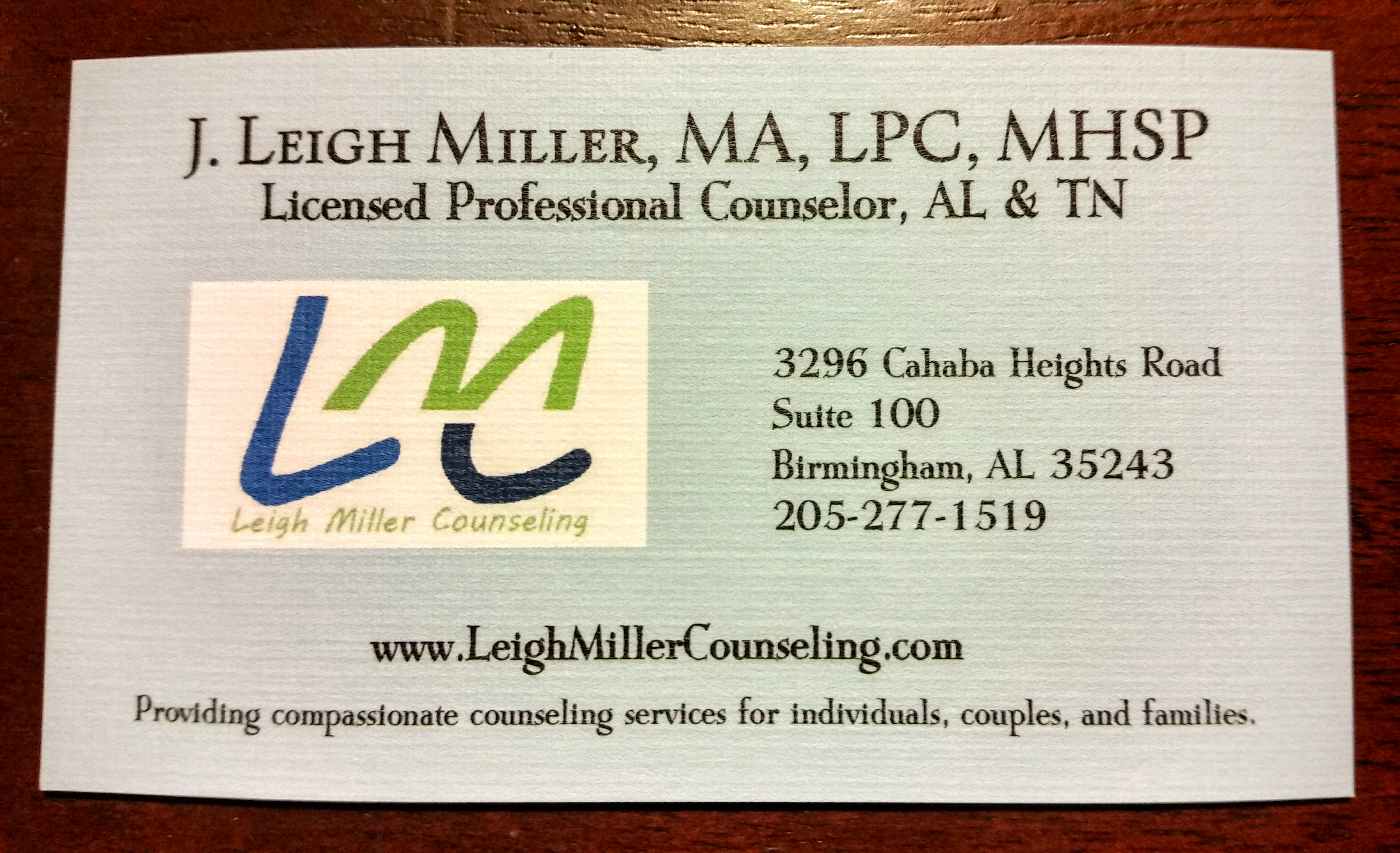 leigh miller counseling 3296 cahaba heights rd suite 100