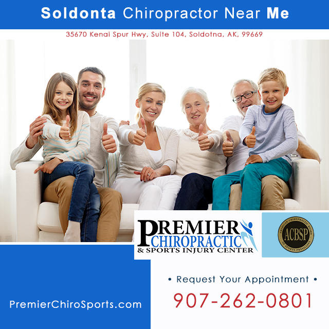 Chiropractor near me Soldotna on the Kenai Peninsula. Call Premier Chiropractic & Sports Injury Center: 907-262-0801.