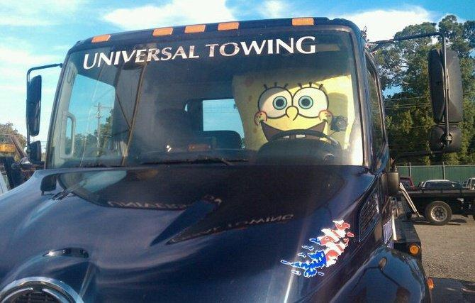 SpongeBob is often spotted at Universal Towing.