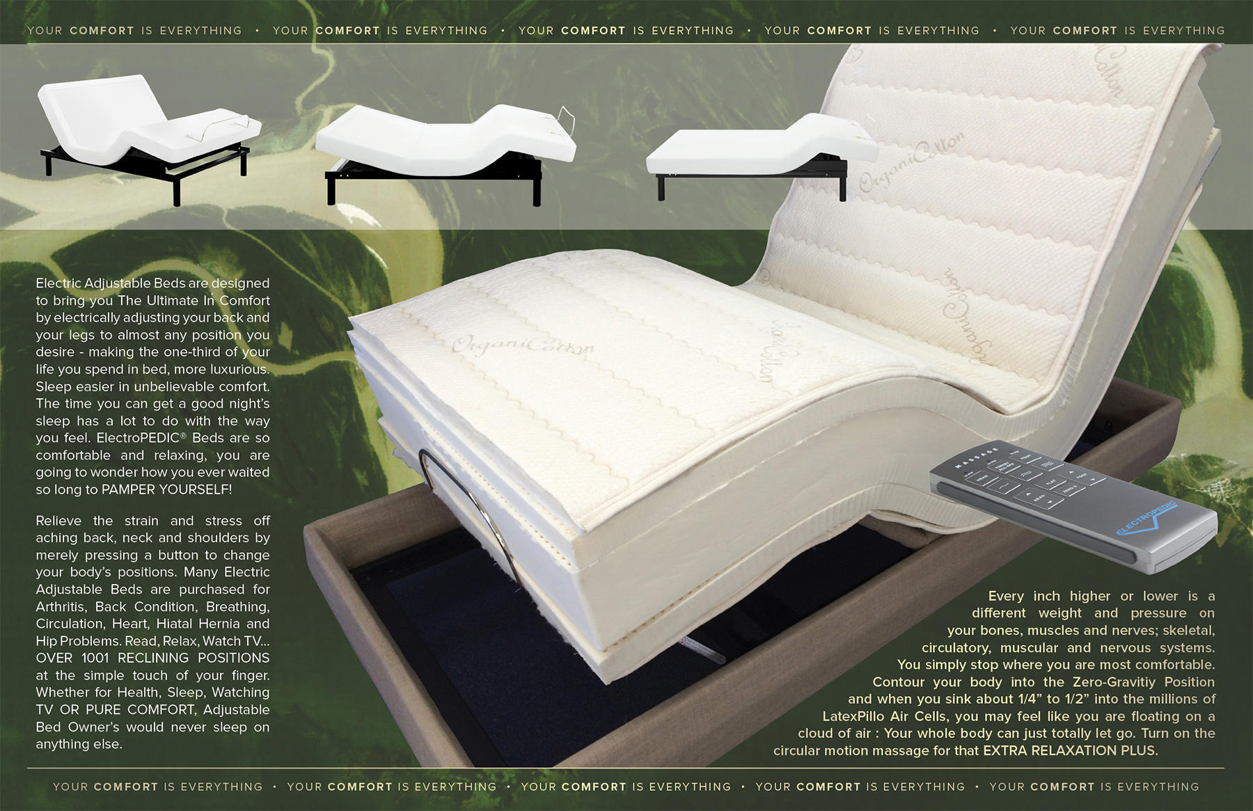 Electric Adjustable Bed specialists Since 1964.  Largest display of electric adjustable beds and latex natural organic adjustablebed mattresses in the San Francisco Bay Area