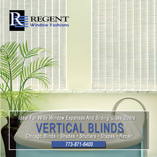 Vertical blinds Chicago by Regent Window Fashions.