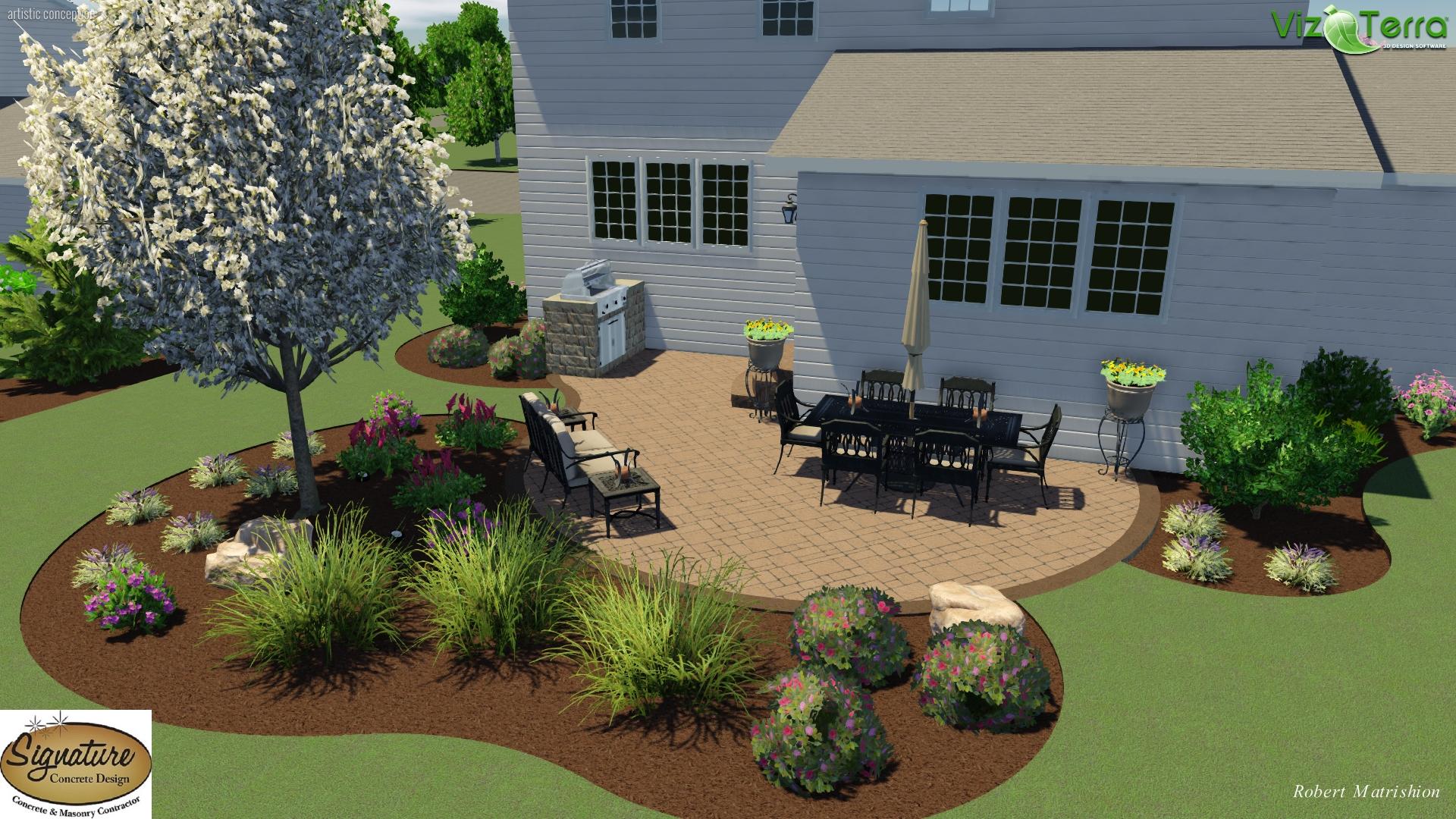 Signature Landscape Design Customized Paver Patio With Landscaping