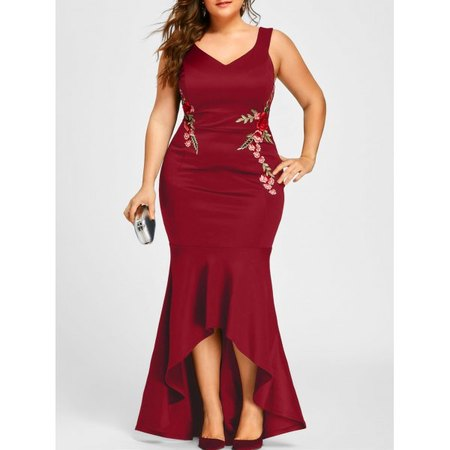 Plus Size V Neck Sleeveless Mermaid Dress