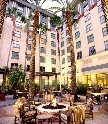 Patio Fire Pit - Our beautifully landscaped patio with fire pit is the perfect place to relax with a sandwich or salad from our 24-hour Market.