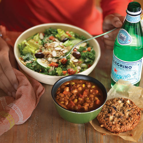 Try the All-Natural Turkey Chili & Mediterranean Quinoa Salad with Almonds.