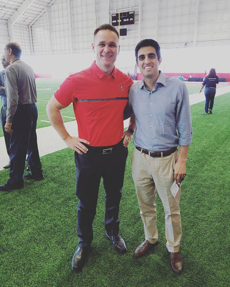 Dr. Sheyan Armaghani and Dr. Christopher Baker at the Advent Health Men's Health Symposium at the Tampa Bay Bucaneers Training Facility