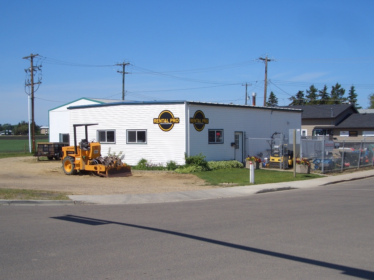 Rental Pro in Lacombe: Main Office building. Highway 2A perspective facing south.