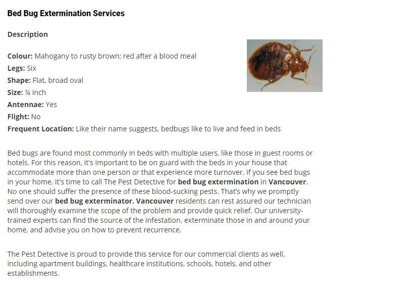 Pest Detective Ltd in North Vancouver: Bed Bugs
