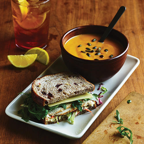 Enjoy the returning favorite Roasted Turkey, Apple & Cheddar Sandwich, paired with the Autumn Squash Soup.