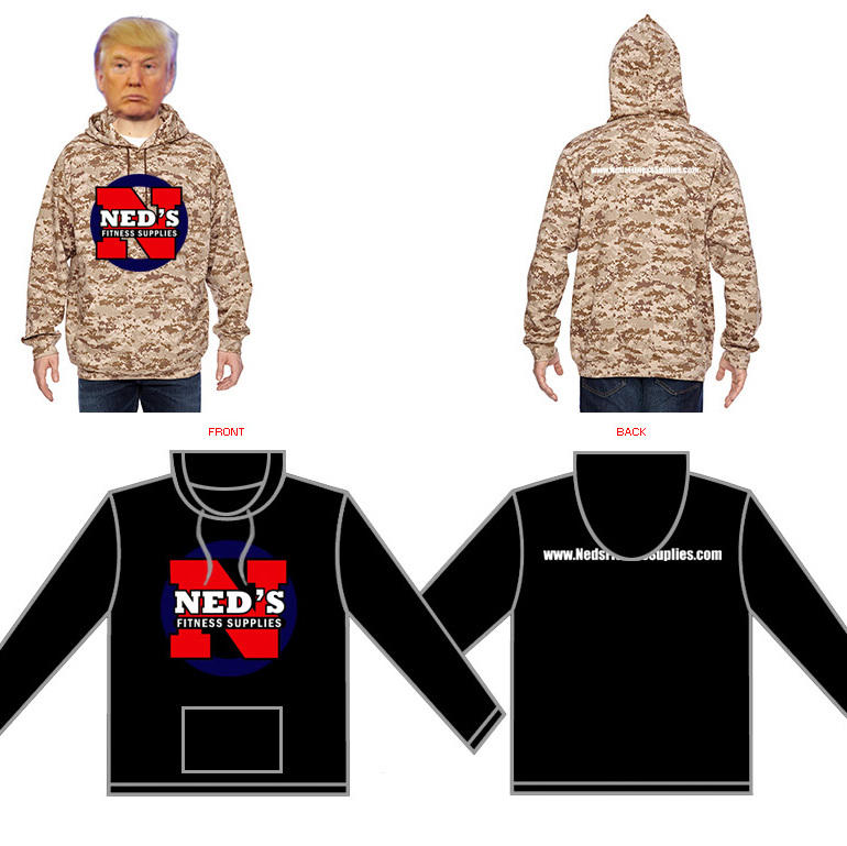 Ned's Fitness Supplies Hoodies. High quality shirts available in Black or Sand Digital Camo. Black S-XL $25, XXL & XXXL $30 Sand Digital Camo S-XL $45