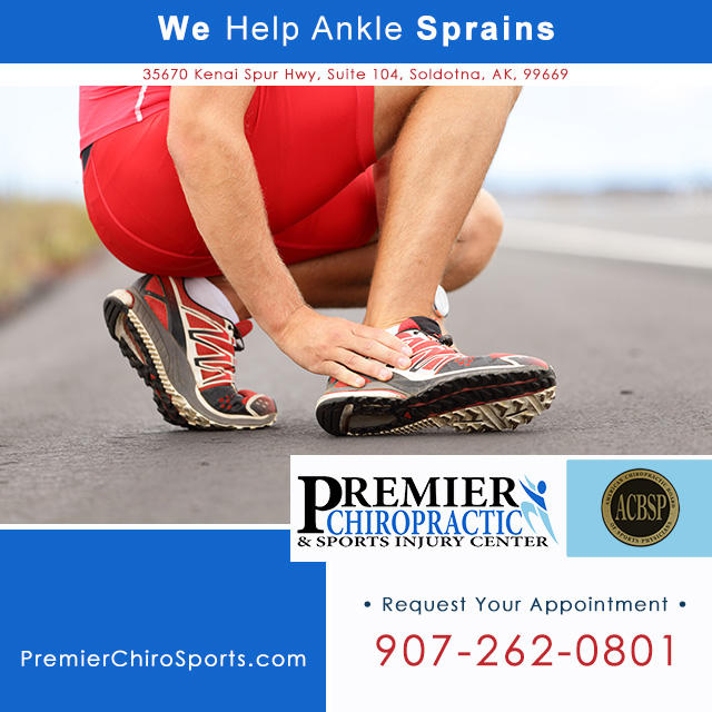 Our Chiropractor in Soldotna on the Kenai Peninsula helps ankle sprains. Call Premier Chiropractic & Sports Injury Center: 907-262-0801.