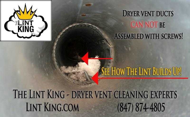 Federal Building Codes for Dryer Vents and Ducts Specify That Ducts Cannot Be Assembled With Screws Because They Catch The Lint!