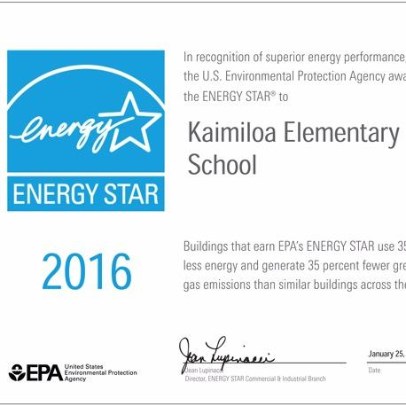 One of the 83 ENERGY STAR awards we helped Hawaii Public Schools win for their exemplary energy performance in 2015 and 2016.
