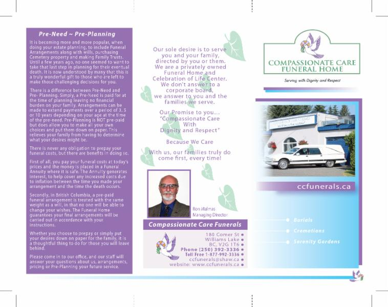 Compassionate Care Funerals in Williams Lake: 3 fold brochure front