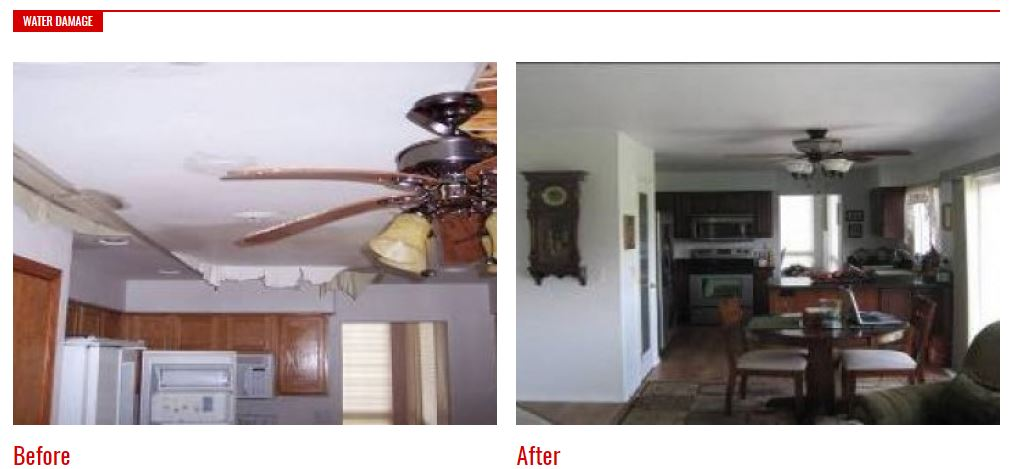 Before and After Photos: Water damage