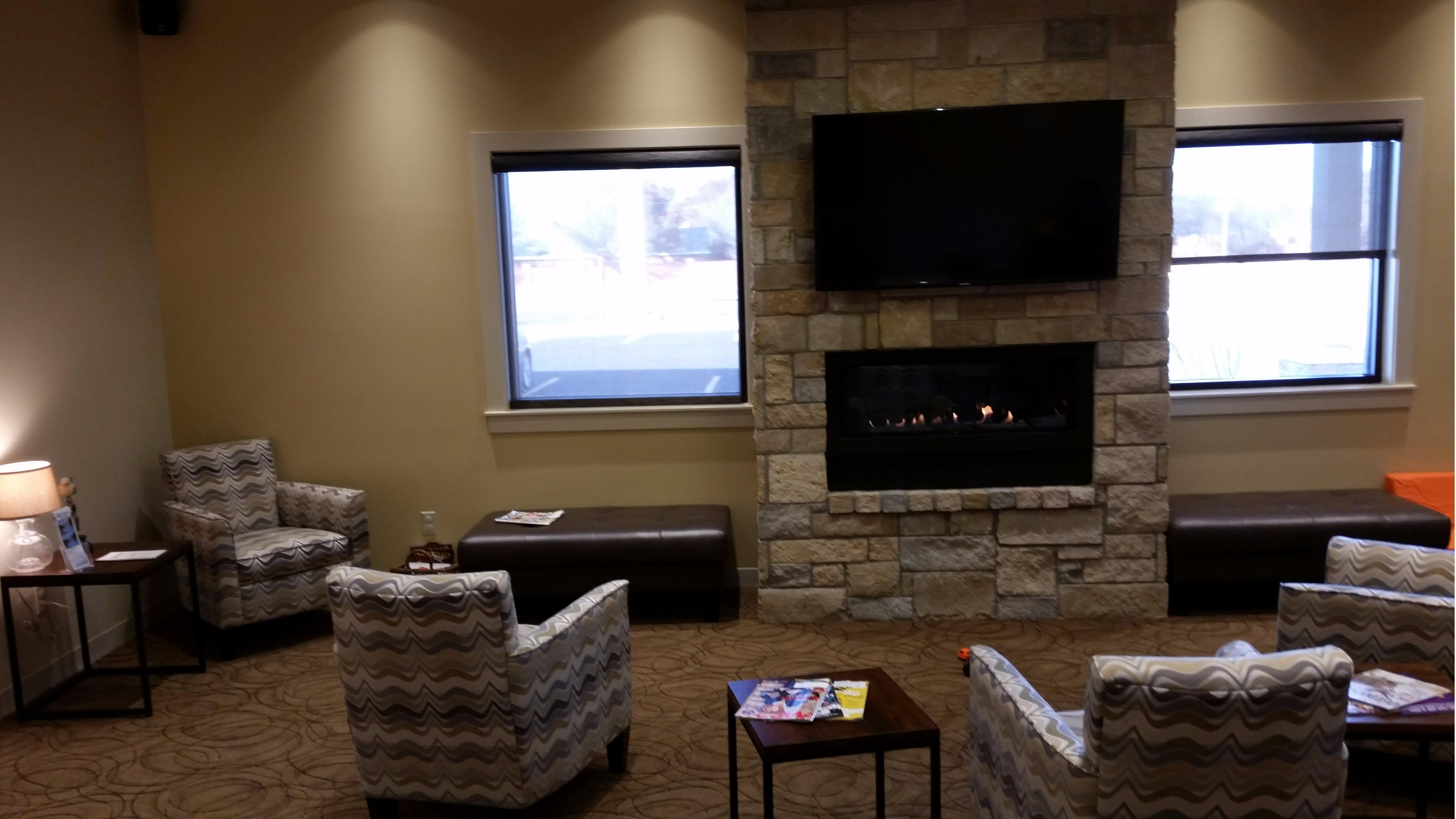 Fireplace in our relaxing area is nice on cold days