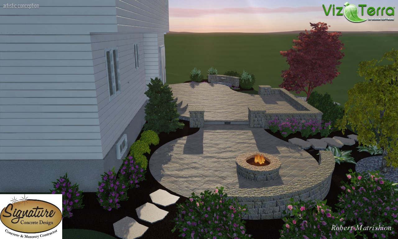Landscape Design Of Two Tiered Decorative, Stamped Concrete Patio. Project  Includes Sitting Walls, Pillars, Gas Fire Pit, Color Falls Water Feature,  ...