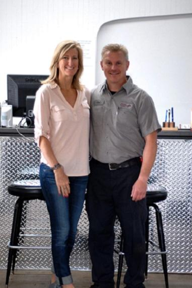 Chad and Shannon Skartvedt, owners of Absolute Automotive Services in Delano, MN