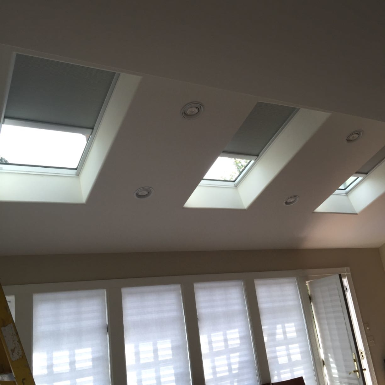 Triple Skylight Installation With Remote Control Shades In
