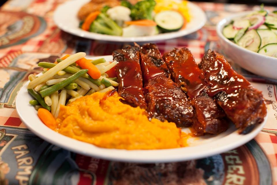Delicious ribs with hand peeled, mashed sweet potatoes.  Made fresh on our premises daily.