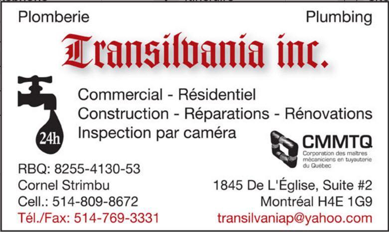 Plomberie Transilvania Inc à Montréal