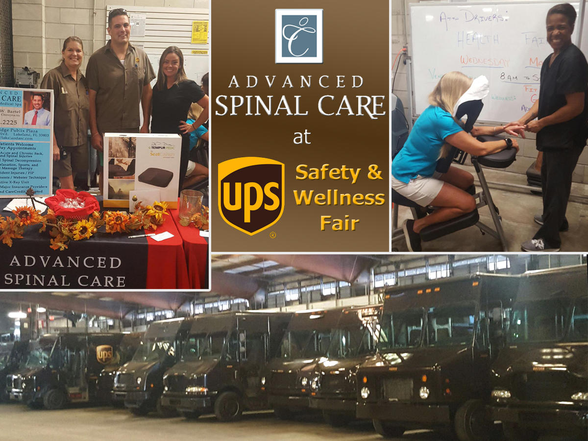 Advanced Spinal Care Chiropractic Medspa at the Lakeland UPS distribution center for their Safety & Wellness Fair. We were happy to provide the dedicated UPS staff with chair massages.