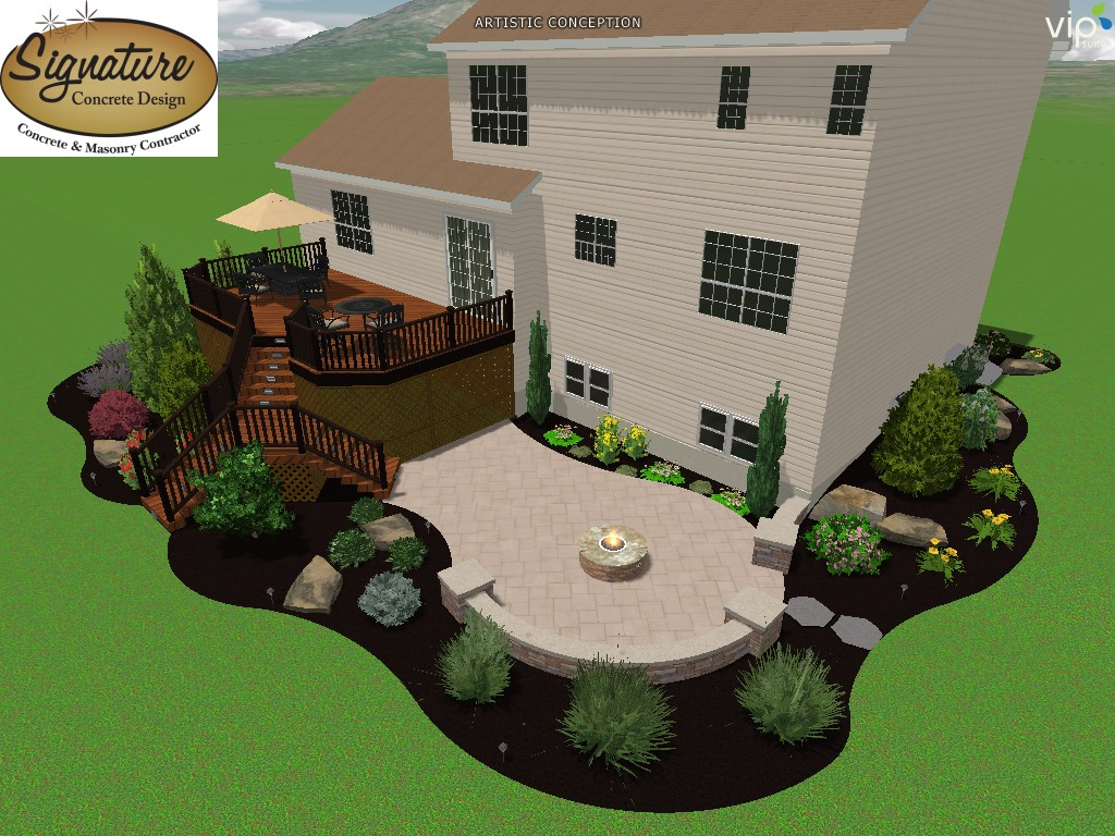 landscape 3d rendering of a custom designed deck by signature landscape design and a stamped concrete patio with fire pit and seating wall and landscaping - Patio And Landscape Design
