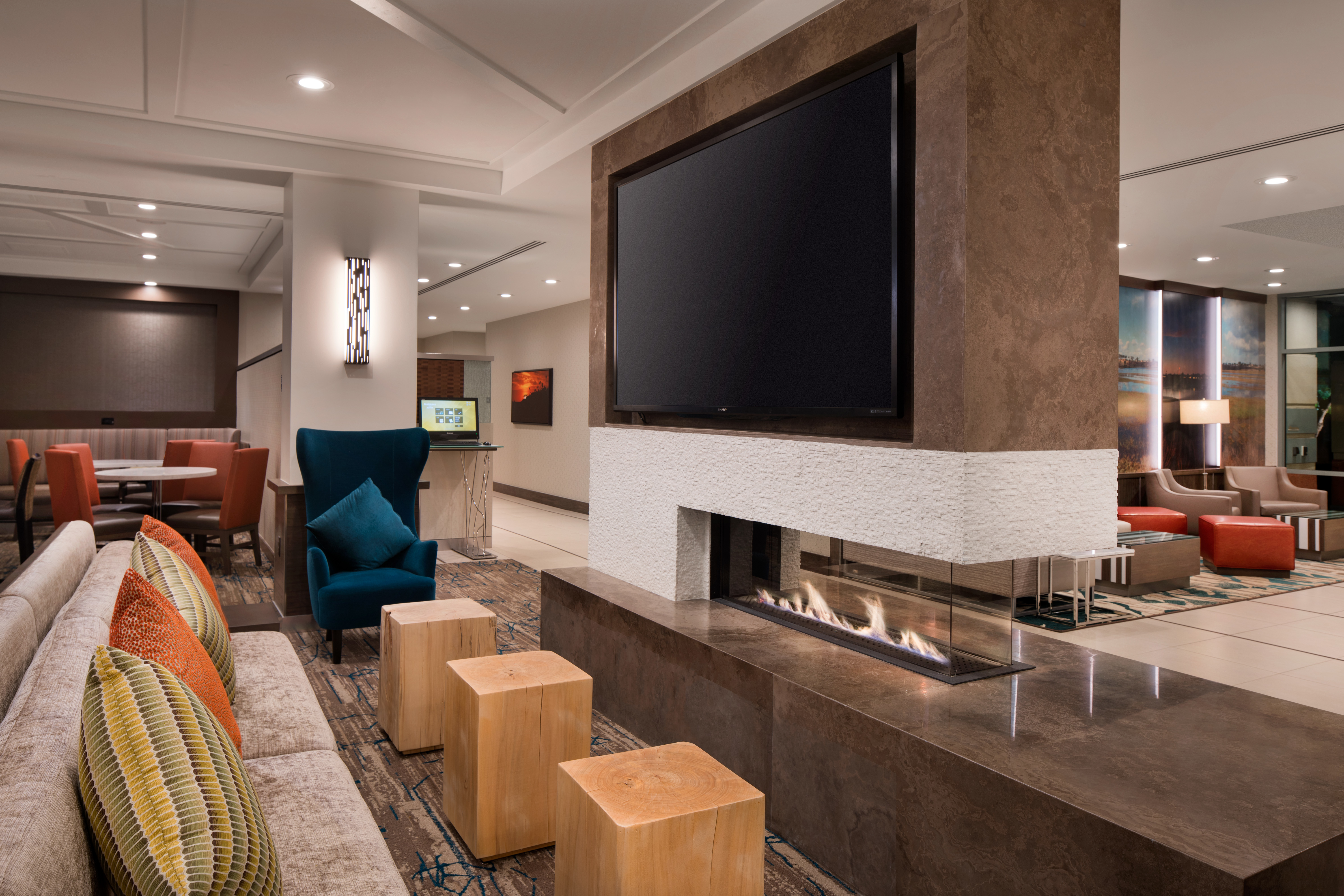 Lobby Seating Area - During downtime, spread out in our newly redesigned lobby area, where you can catch your favorite TV shows and sporting events on our large flat-panel TV.