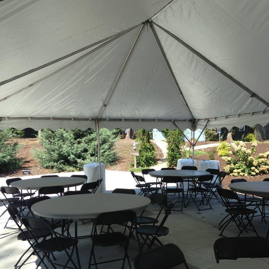 Tents, tables, and chairs.